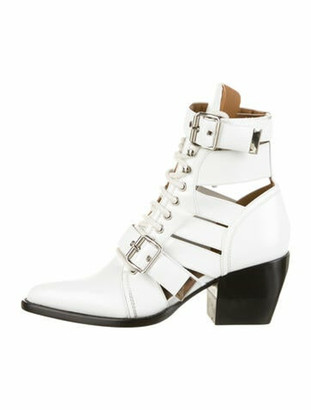 Chloé Rylee Caged Leather Boots White