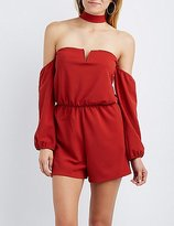 Charlotte Russe Choker Neck Off-The-Shoulder Romper