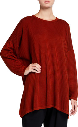 eskandar Round-Neck Silk Knit Long Sweater