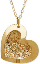 Macy's Textured Heart Pendant Necklace in 10k Gold