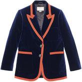 Gucci Web trim blazer - women - Silk/Cotton/Spandex/Elastane/Velvet - 40