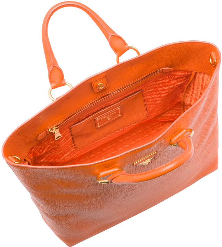 Prada Daino Tote Bag, Orange (Papaya)