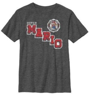 Fifth Sun Nintendo Big Boy's Super Mario Varsity Emblem Vintage-Like Short Sleeve T-Shirt