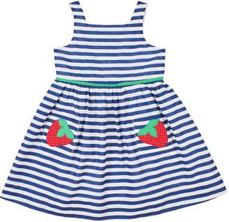 Florence Eiseman Girl's Striped Strawberry Pocket Dress, Size 2-6X