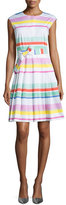 Kate Spade Multicolored Cape-Stripe Shirtwaist Dress