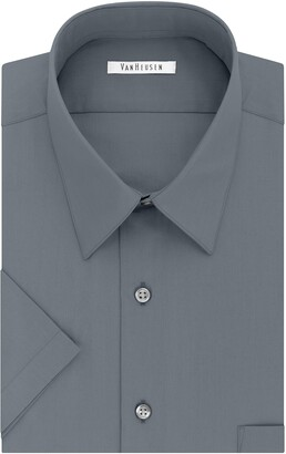 Van Heusen Men's Dress Shirts Short Sleeve Poplin Solid