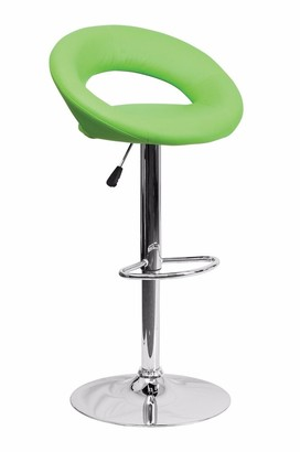 Offex Contemporary Green Vinyl Rounded Back Adjustable Height Bar Stool with Chrome Base [OFX-124407-FF]