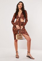Missguided Brown Tortoiseshell Co Ord Wrap Midi Skirt