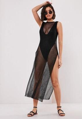 Missguided Black Metallic Side Split Maxi Dress