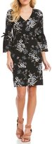 Jessica Howard Petite Bell-Sleeve Velvet-Trim Floral Shift Dress