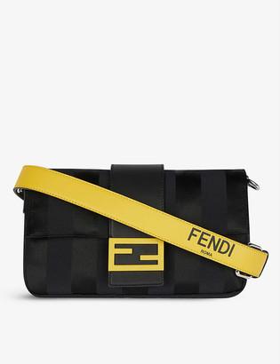 Fendi Brand-plaque striped woven cross-body bag