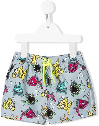 Stella McCartney Kids Fish Print Swim Shorts
