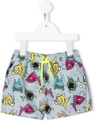 Stella McCartney fish print swim shorts