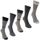 Soviet Mens Contrast Stripe Socks Pack of 5 Casual Accessories