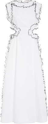 Christopher Kane Cotton Frill Cut Out Dress