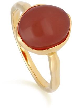 Irregular Dyed Red Jade Ring