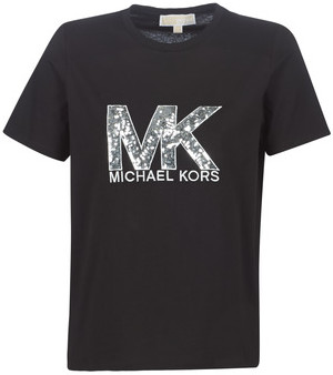 MICHAEL Michael Kors MK LOGO SEQUIN TEE women's T shirt in Black