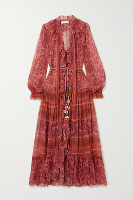 Zimmermann Edie Embellished Printed Silk-chiffon Maxi Dress - Peach
