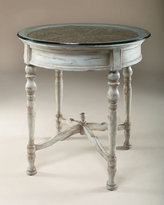 Glass-Topped Rochefort Blue Bistro Table