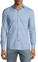 Michael Kors Matrix-Print Long-Sleeve Sport Shirt, Ultramarine