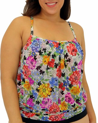Fit 4 U Women's Plus Size Fit 4U Flower Child mesh Blouson Tankini top