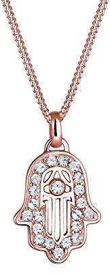 Elli Women 925 Sterling Silver Rosé Gold Plated Hamsa Hand Swarovski Crystals Necklace of 45cm 0102810916