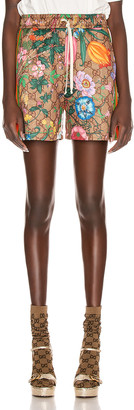 Gucci GG Flora Short in Camel & Brown | FWRD