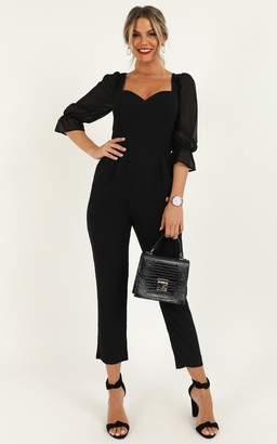 Showpo Lets Take a Break Jumpsuit in black - 6 (XS) Fitted Jumpsuits