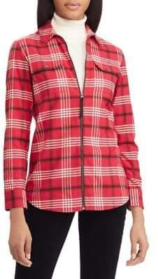 Chaps Petite Straight-Fit Full-Zip Cotton Twill Shirt