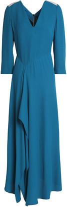 Roland Mouret Cutout Draped Crepe-cloque Maxi Dress