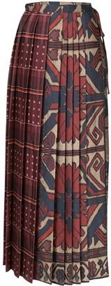 Pierre Louis Mascia Geometric-Print Pleated Skirt