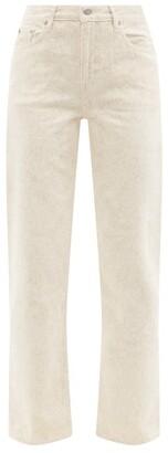 Ganni X Levi's Floral-print Slit-cuff Straight-leg Jeans - Cream