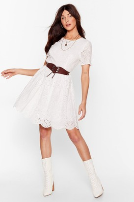 Nasty Gal Womens Lace Go Broderie Anglaise Mini Dress - White - M/L