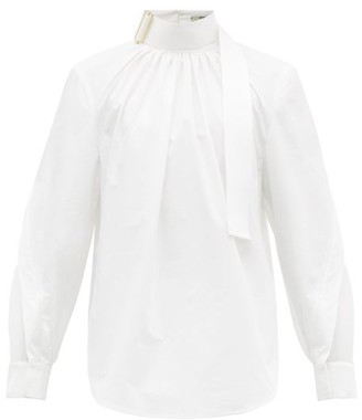 Fendi Buckled And Mesh-panelled Cotton-poplin Shirt - Womens - White
