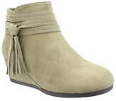 Pierre Dumas Taupe Tassel Sabri Wedge Ankle Boot - Girls