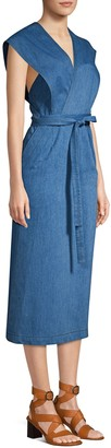 Derek Lam Sleeveless Chambray Wrap Midi Dress
