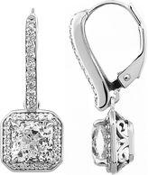 JCPenney FINE JEWELRY 100 Facets by DiamonArt Square Halo Cubic Zirconia Drop Earrings