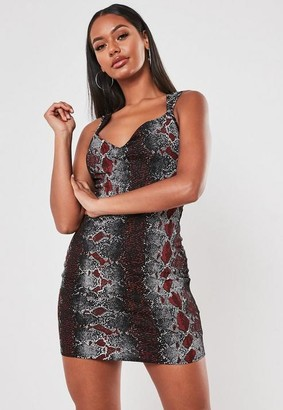 Missguided Black Snake Print Sweetheart Neck Mini Dress