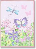 Stupell Industries The Kids Room Pastel Dragonfly, Butterfly and Flowers Wall Plaque