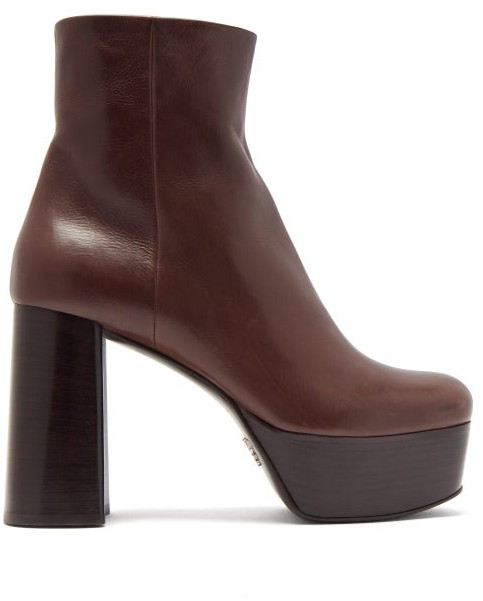 Prada Leather Platform Ankle Boots - Dark Brown