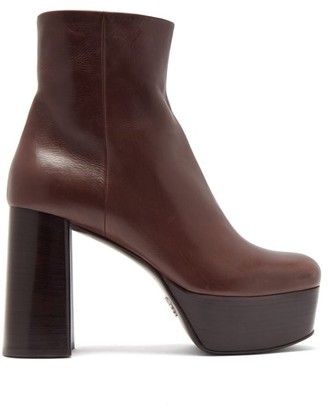 Prada Leather Platform Ankle Boots - Dark Brown