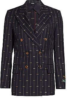 Gucci Women's Retro GG Thin Stripe Wool Double-Breasted Boxy Jacket