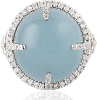 Artisan 18kt White Gold Aquamarine Women Ring