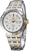 Seiko Men's Automatic Silver Textured Dial Two Tone Stainless Steel