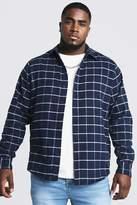 BoohoomanBoohooMAN Mens Navy Big & Tall Shirt With Windowpane Check, Navy