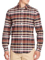 Lacoste Long Sleeve Brushed Twill Plaid Shirt