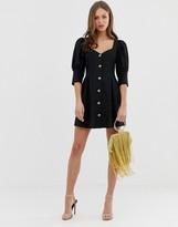Asos Design DESIGN button through mini skater dress with puff sleeve