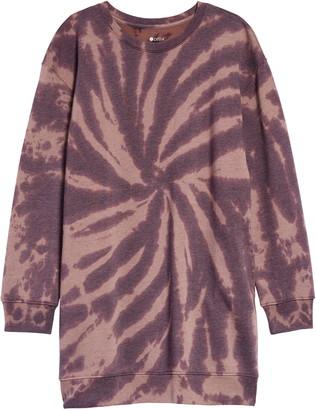 Zella Kids' Cali Tie Dye Long Sleeve Sweatshirt Dress