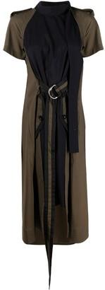Sacai Two-Tone Belted Midi Dress
