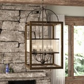 Three Posts Aadhya 6 - Light Lantern Rectangle Chandelier with Wood Accents